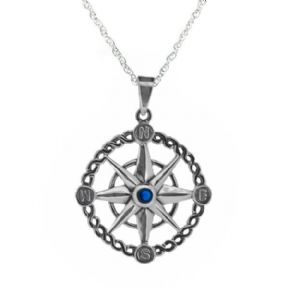 Outlander Inspired Compass Silver Pendant with Sapphire colour stone 1009